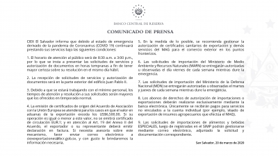 Información importante para usuarios de CIEX El Salvador