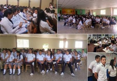 Alumnos de centros escolares, participan de las capacitaciones que imparte el BCR por medio de su Programa Conozca su dinero.