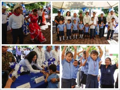 Desarrollo del acto cívico realizado en el municipio de San Martín, en el marco del 195 Aniversario de la Independencia Patria
