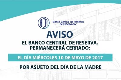 Aviso de cierre bancario del BCR, el miércoles 10 de mayo.