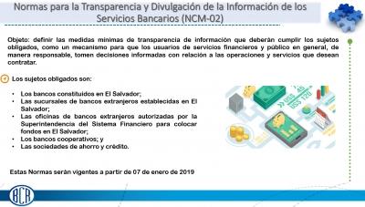 Normas Técnicas para la Transparencia y Divulgación de la Información de los Servicios Financieros Bancarios (NCM-02)