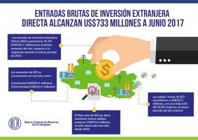 Entradas brutas de Inversión Extranjera Directa alcanzan US$733 millones a junio 2017