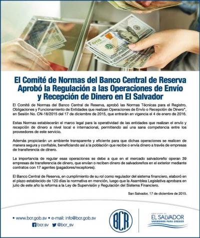 Información sobre aprobación de la Norma que regula las operaciones de envío y recepción de dinero en ES.