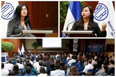 Las expositoras de la conferencia REDIBACEN fueron: La licenciada Xiomara Hurtado, Jefa del Departamento del Sector Externo y la licenciada Claudia Campos, ambas del Banco Central.
