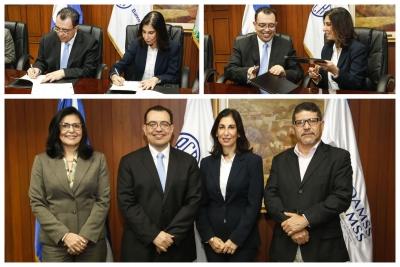 El Dr. Óscar Cabrera, Presidente del Banco Central y  la Arq. Yolanda Isabel Bichara, Directora Ejecutiva de la OPAMSS, firmaron un Convenio de Cooperación Interinstitucional.