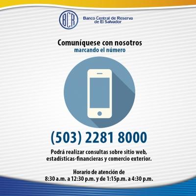 Anuncio sobre número telefónico y horarios del BCR