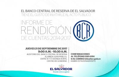 Invitación al Informe de Rendición de Cuentas BCR 2014/2017