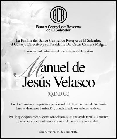 La familia BCR lamenta la irreparable pérdida de nuestro compañero Manuel Velasco