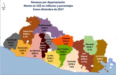 BCR pone a disposición del público información sobre el destino geográfico de las remesas