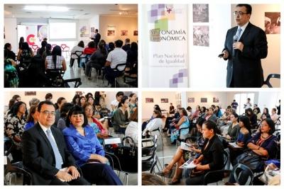 """Presidente del BCR  Dr. Óscar Cabrera participó en el foro """"Aporte de las mujeres a la economía de El Salvador"""""""