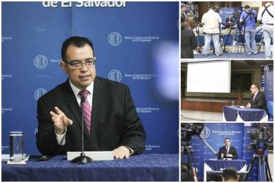 Conferencia de prensa en Banco Central de Reserva