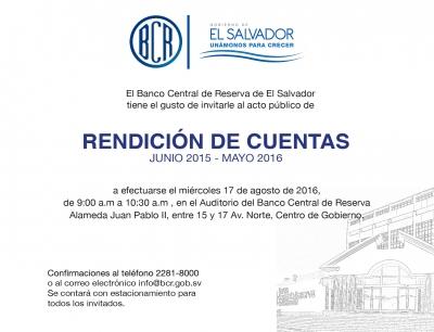 Invitación al acto de Rendición de Cuentas del Banco Central