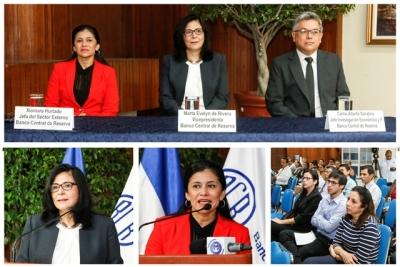 """Desarrollo de la conferencia REDIBACEN """"Impactos Previstos del Acuerdo Transpacíficode Cooperación Económica (TPP) en El Salvador""""  realizada en el auditorio del Banco Central."""