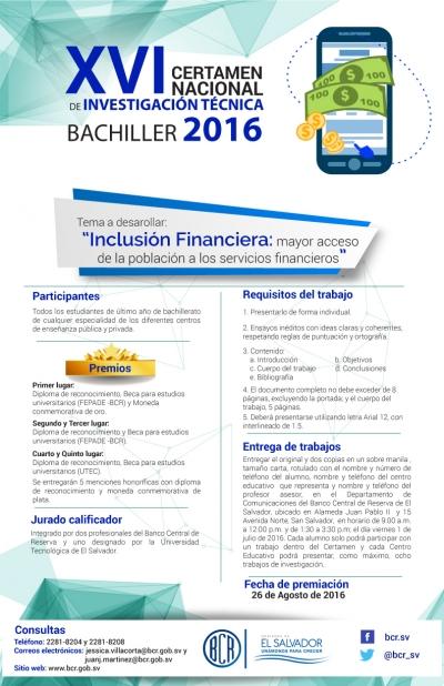 BCR invita a jovenes bachileres de último año a participar en el XVI Certamen de Investigación Técnica 2016